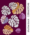 vector tropical pattern with... | Shutterstock .eps vector #1386639146