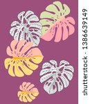 vector tropical pattern with... | Shutterstock .eps vector #1386639149