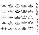 crown icon set heraldic symbol... | Shutterstock .eps vector #1386656033