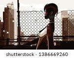pretty african american woman... | Shutterstock .eps vector #1386669260