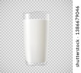 Milk In Transparent Glass  For...