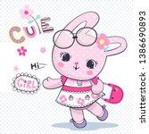 baby rabbit girl in shabby chic ... | Shutterstock .eps vector #1386690893