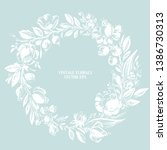 hand drawn floral wreath with... | Shutterstock .eps vector #1386730313