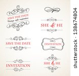vintage wedding invitations... | Shutterstock .eps vector #138674804