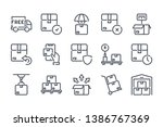 delivery related line icon set. ...