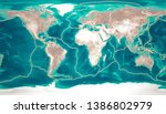 Tectonic plates move constantly, making new areas of ocean floor, building mountains, causing earthquakes, and creating volcanoes. 3d rendering. Map. Element of this image are furnished by Nasa