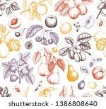 fruits seamless pattern. cherry ... | Shutterstock .eps vector #1386808640
