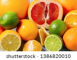 group of whole and sliced... | Shutterstock . vector #1386820010
