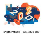 2020 colored memphis style.... | Shutterstock .eps vector #1386821189
