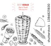 doner kebab cooking and... | Shutterstock .eps vector #1386825830