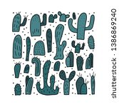 cactus design set.  square... | Shutterstock . vector #1386869240
