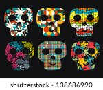 set of cute skulls. vector...