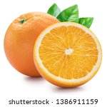 Small photo of Orange fruits with orange leaves on white background. File contains clipping path.