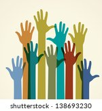 colorful raised hands. the... | Shutterstock .eps vector #138693230