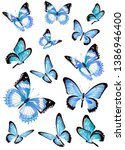 Stock vector beautiful blue butterflies isolated on a white 1386946400