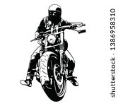 rider on chopper motorbike... | Shutterstock .eps vector #1386958310