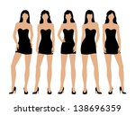 women in little black dress | Shutterstock .eps vector #138696359