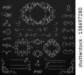 chalkboard set of calligraphic...   Shutterstock .eps vector #138697280