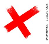 red x cross grungy icon  | Shutterstock .eps vector #1386987236