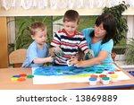 teacher two preschoolers and... | Shutterstock . vector #13869889