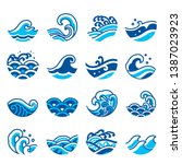 set of ocean wave icon vector.... | Shutterstock .eps vector #1387023923