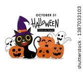 happy halloween greeting card... | Shutterstock .eps vector #1387033103