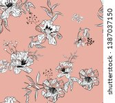 floral seamless pattern with... | Shutterstock .eps vector #1387037150