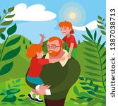 father with sons characters in... | Shutterstock .eps vector #1387038713