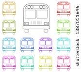 school bus multi color icon....