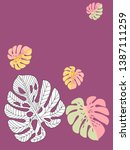 vector tropical pattern with... | Shutterstock .eps vector #1387111259