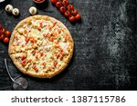pizza with tomatoes  chicken... | Shutterstock . vector #1387115786