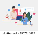 man and woman texting messages... | Shutterstock .eps vector #1387116029