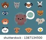 set of twelve animal face ... | Shutterstock .eps vector #1387134500