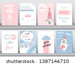 set of birthday cards poster...   Shutterstock .eps vector #1387146710