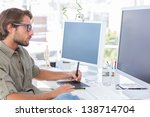 graphic artist using graphics...   Shutterstock . vector #138714704