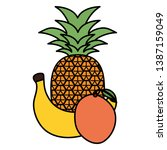 fresh pineapple with banana and ... | Shutterstock .eps vector #1387159049