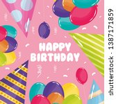 happy birthday card with party... | Shutterstock .eps vector #1387171859