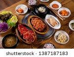 korean rice cake ribs on plate | Shutterstock . vector #1387187183