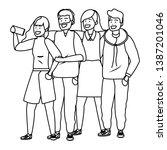 millennial group taking selfie... | Shutterstock .eps vector #1387201046