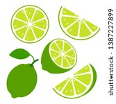 lime fruits with slices and... | Shutterstock .eps vector #1387227899
