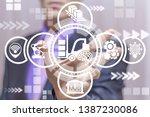 Man Uses On A Virtual Screen O...