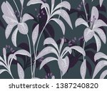 floral seamless pattern. lily... | Shutterstock .eps vector #1387240820