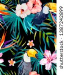 tropical summer pattern with... | Shutterstock .eps vector #1387242899