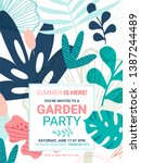 summer party invitation with... | Shutterstock .eps vector #1387244489