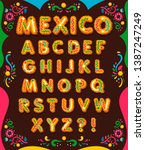 mexico decorative yellow font....   Shutterstock .eps vector #1387247249