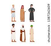 set of old ancient arabian man... | Shutterstock .eps vector #1387262609
