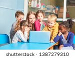 teacher and group of children... | Shutterstock . vector #1387279310