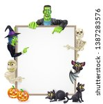 halloween sign or banner with... | Shutterstock .eps vector #1387283576