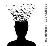 head with flying birds . vector ... | Shutterstock .eps vector #1387325996