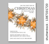 peach poinsettia merry... | Shutterstock .eps vector #1387331720